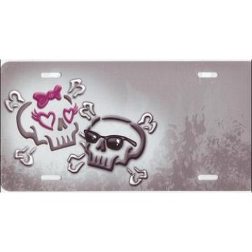 Boy Skull And Girly Skull Offset License Plate