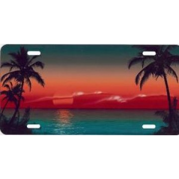 Green Sunset Airbrush License Plate