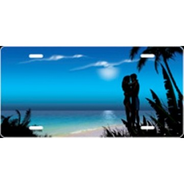 Blue Banana Tree Couple Airbrush License Plate