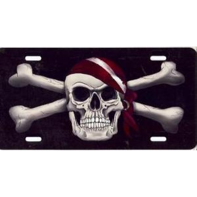 Pirate Skull With Dive Bandanna Airbrush License Plate