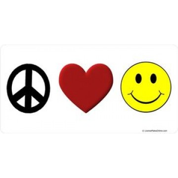 Peace Love Smile Photo License Plate