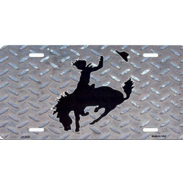 Buckin Bronco Metal License Plate
