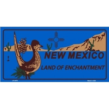 New Mexico Land Of Enchantment Blue Metal License Plate