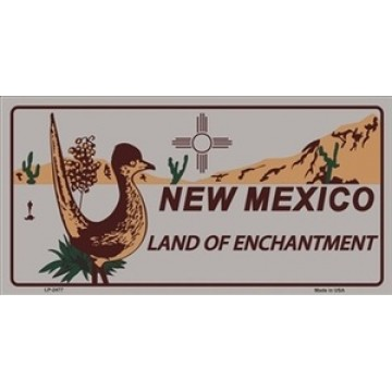 New Mexico Land Of Enchantment Grey Metal License Plate