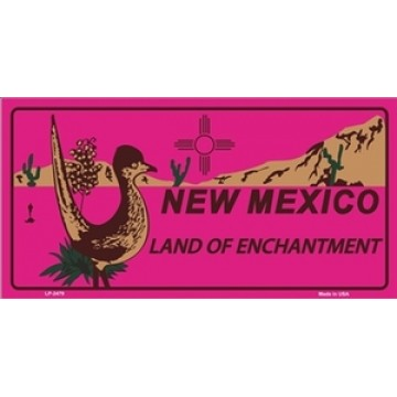 New Mexico Land Of Enchantment Pink Metal License Plate