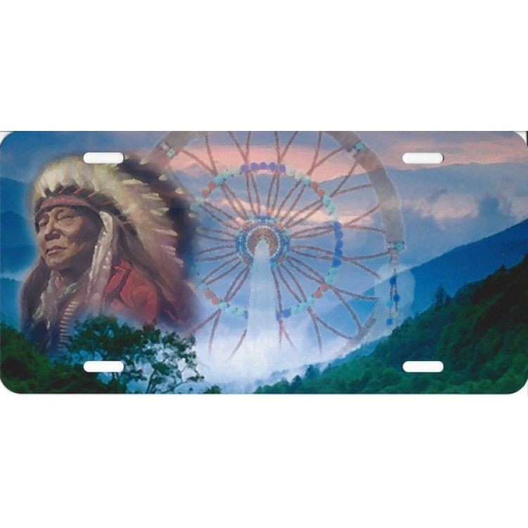 Offset Native American With Dream Catcher License Plate