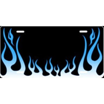 Blue Flames Airbrush License Plate