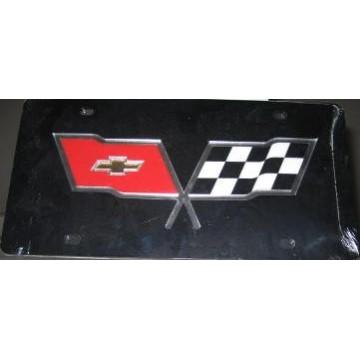 Corvette Racing Flag On Black Laser Cut License Plate