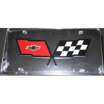 Corvette Racing Flag On Silver Laser Cut License Plate