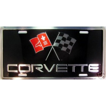 Corvette Racing Flag Logo License Plate