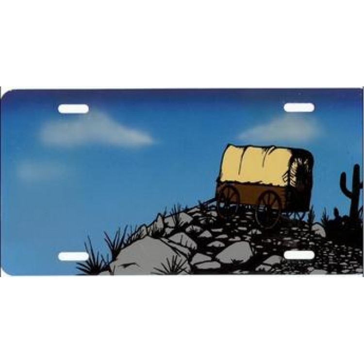 Western Carriage On Cliff Airbrush License Plate