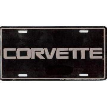 Corvette On Black License Plate