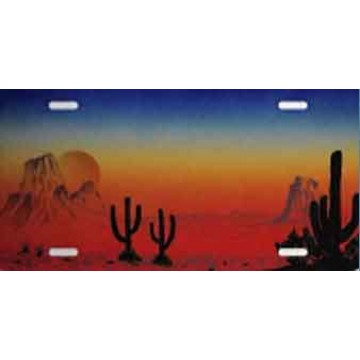 Cacti and Mountains Sunset License Plate