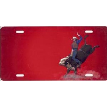 Bull Rider On Red Airbrush License Plate
