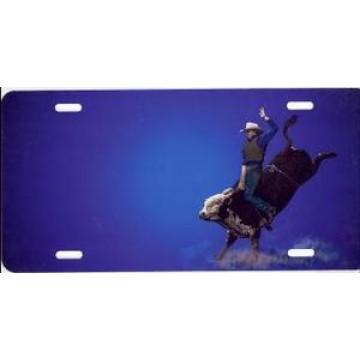 Bull Rider On Blue Airbrush License Plate