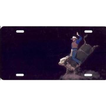 Bull Rider On Black Airbrush License Plate