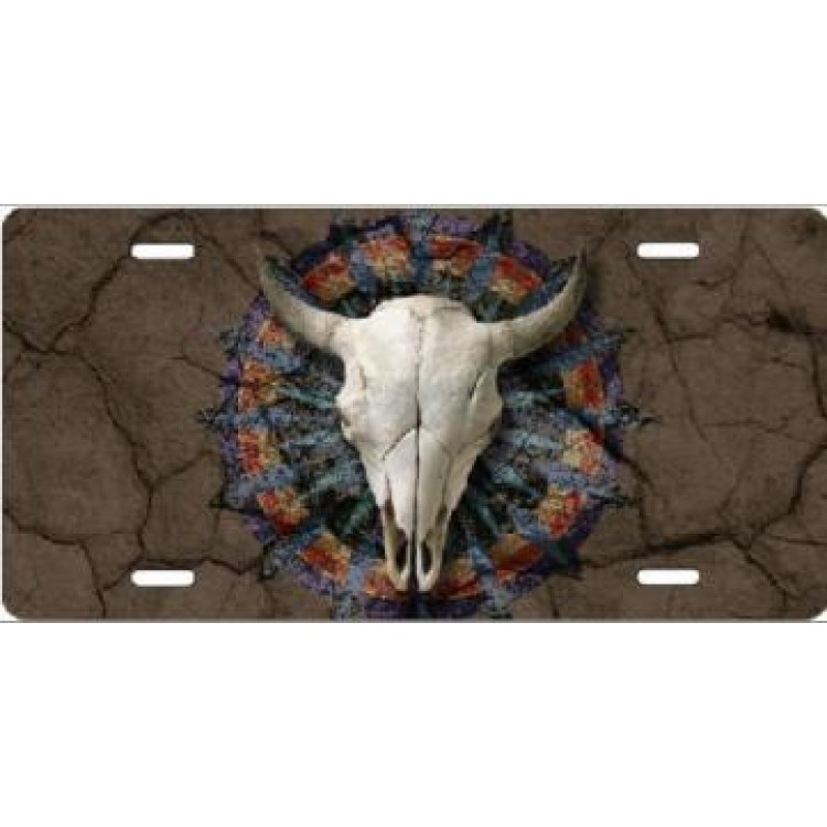 Cow Skull On Cracked Ground Airbrush License Plate