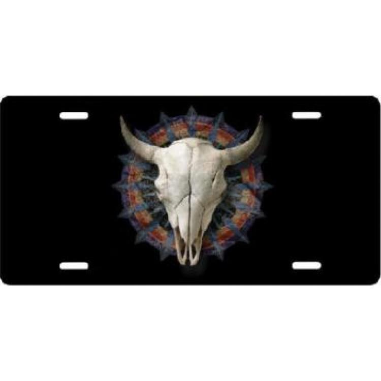 Cow Skull Airbrush License Plate