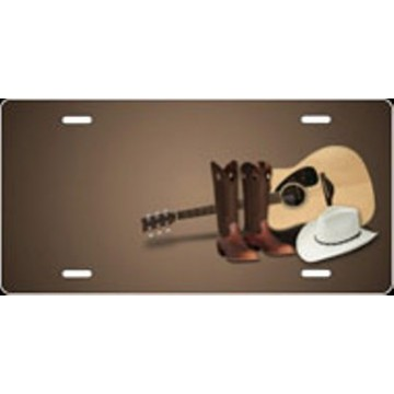 Boots, Hat, And Guitar Airbrush License Plate