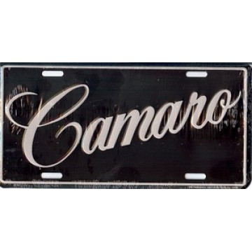 Camaro Letters on Black License Plate