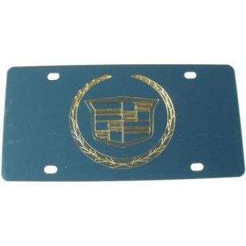 Cadillac All Gold Logo Stainless Steel License Plate