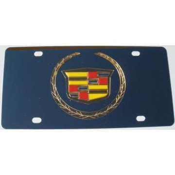 Cadillac Gold Logo Stainless Steel License Plate