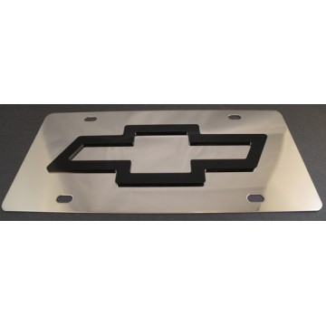 Chevrolet Black Logo Stainless Steel License Plate