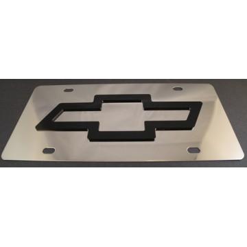 Chevrolet Black Logo Stainless Steel License Plate