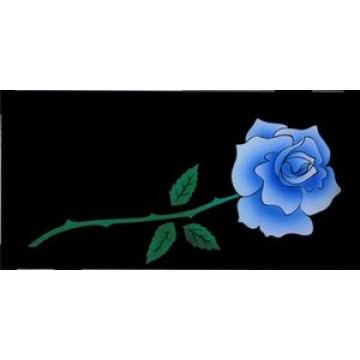 Blue Rose On Black Photo License Plate