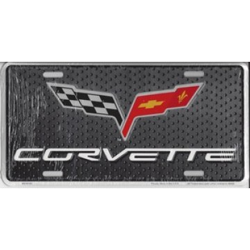 Corvette With Flags Metal License Plate