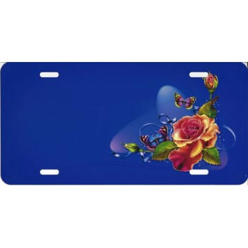 Butterflies And Flowers Offset On Purple License Plate