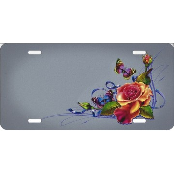 Butterflies And Flowers Offset On Grey License Plate