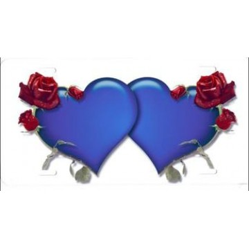 Blue Hearts With Roses Airbrush License Plate