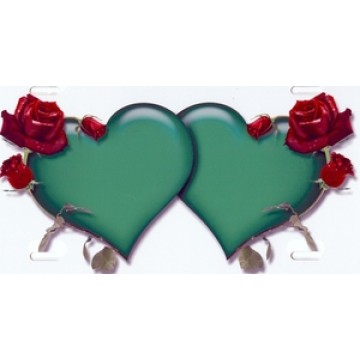 Double Hearts With Roses Green On White Airbrush License Plate