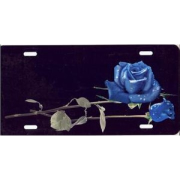 Blue Roses On Black Airbrush License Plate