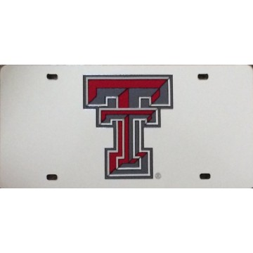 Texas Tech on Silver Laser Plate