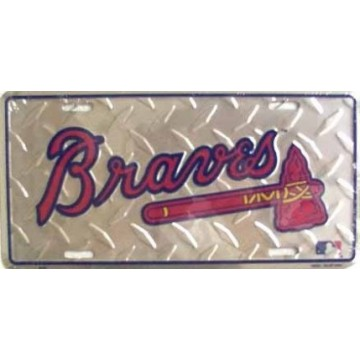 Atlanta Braves Diamond Metal License Plate