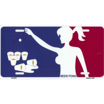 Beer Pong Metal License Plate