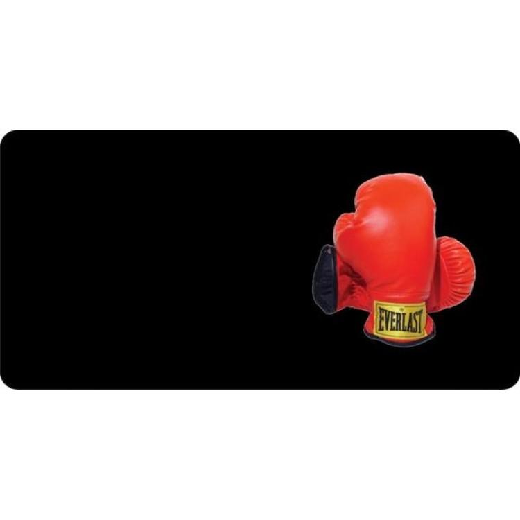 Boxing Gloves Offset On Black Photo License Plate