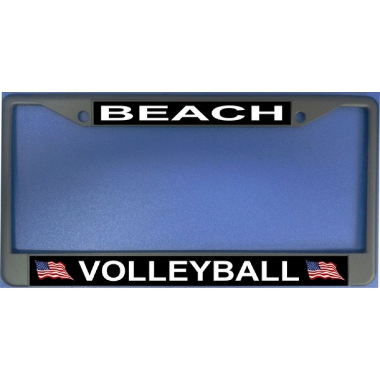 Beach Volleyball Chrome License Plate Frame