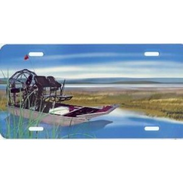 Airboat Airbrush License Plate