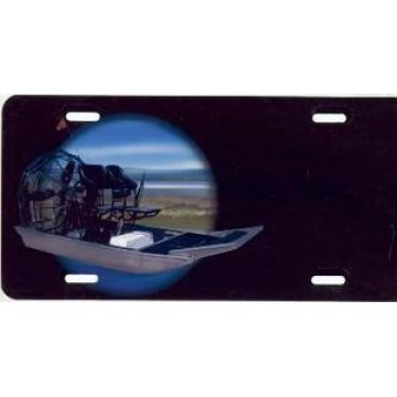 Airboat On Black Offset Airbrush License Plate
