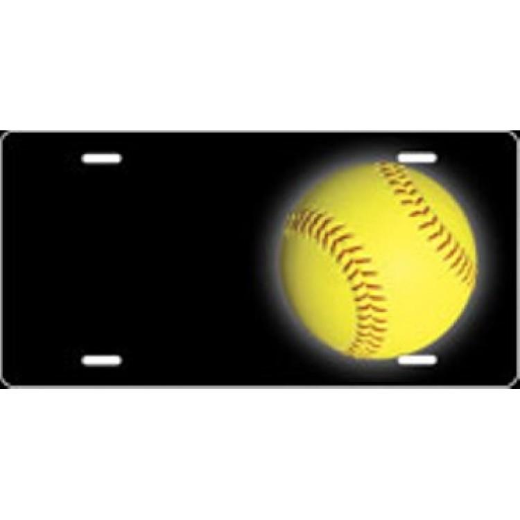 Softball Offset Airbrush License Plate