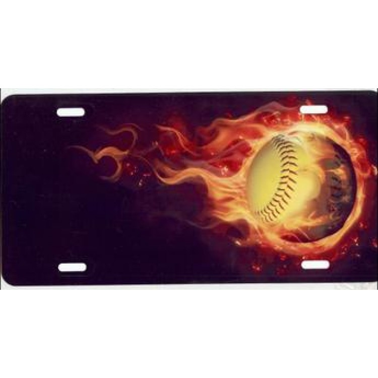 Softball With Real Flames Airbrush License Plate