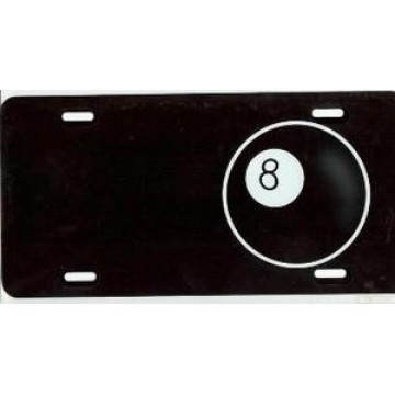 8 Ball On Black Airbrush License Plate