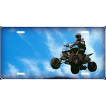 4 Wheeler On Blue Offset Airbrush License Plate
