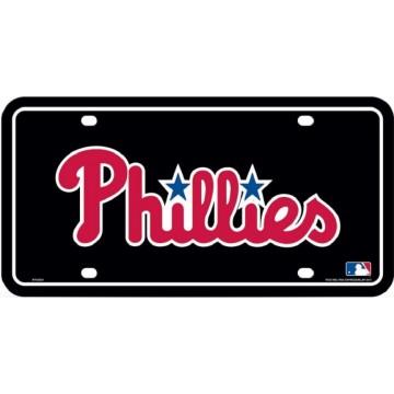 Philadelphia Phillies Black Metal License Plate