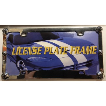 8 Ball Chrome Metal License Plate Frame