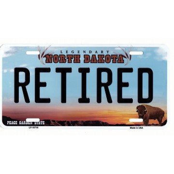 North Dakota Retired Metal License Plate