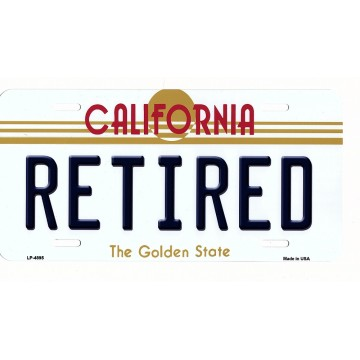 California Retired Metal License Plate